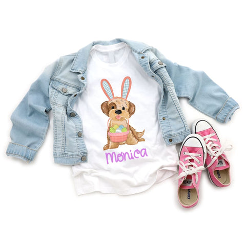 Personalized Dog Girls Easter Shirt - Simply Crafty