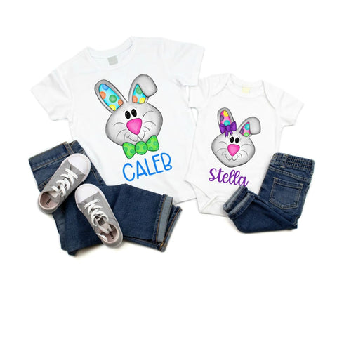 Personalized Name Easter Bunny Kids Spring Shirt - Simply Crafty