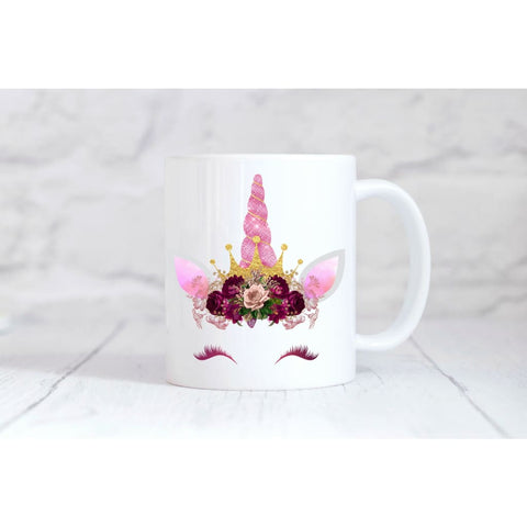 Pink Crown Unicorn Face Coffee Mug - Mugs