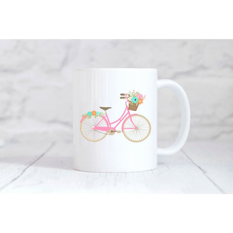 Pink Floral Bike Coffee Mug - Mugs