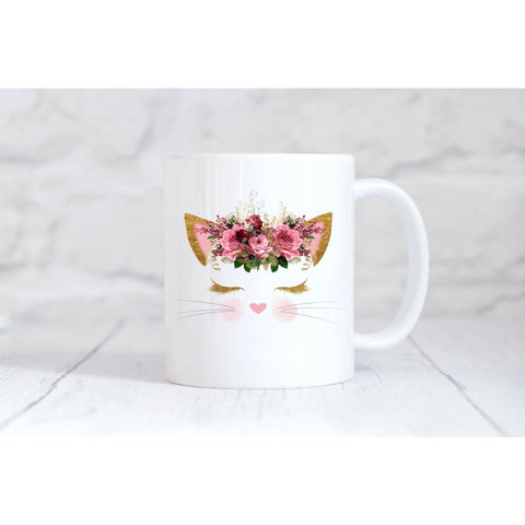 Pink Floral Cat Face Coffee Mug - Mugs