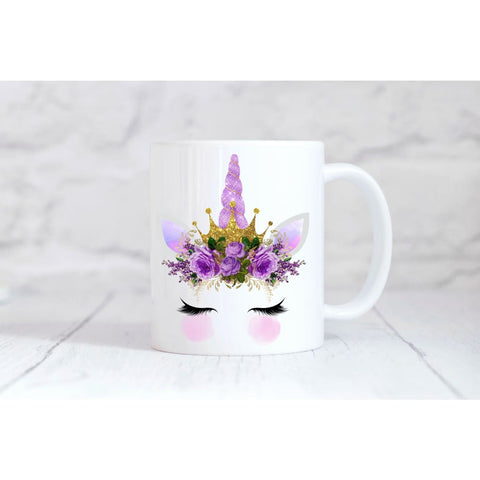 Purple Crown Unicorn Face Coffee Mug - Simply Crafty