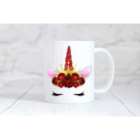 Red Crown Unicorn Face Coffee Mug - Mugs