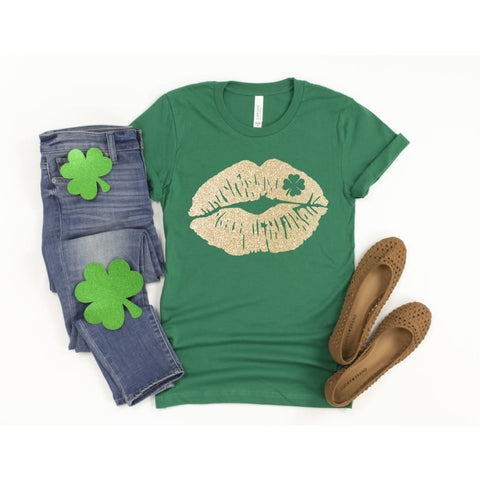 Shamrock Glitter Lips Ladies St Patrick's Day Shirt - Simply Crafty