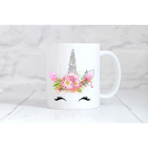 Silver Glitter Unicorn Face Coffee Mug - Simply Crafty