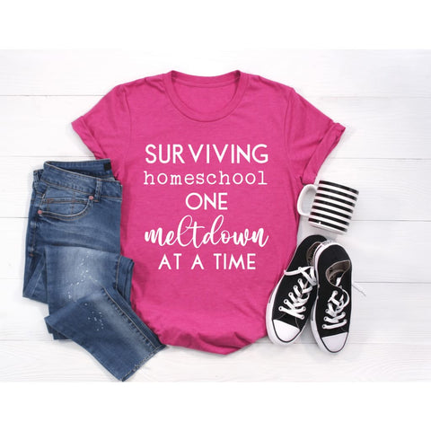 Surviving Homeschool One Meltdown at a Time Mom Teacher Home School Back to School Shirt - Simply Crafty
