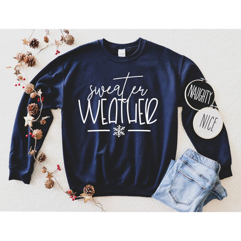 Sweater Weather Snowflake Winter Sweatshirt - Simply Crafty