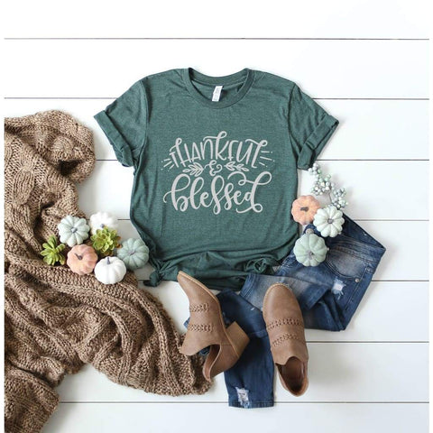 Thankful and Blessed Thanksgiving Womens Shirt - Simply Crafty