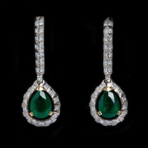 Deco Pear Shape Emerald Earrings