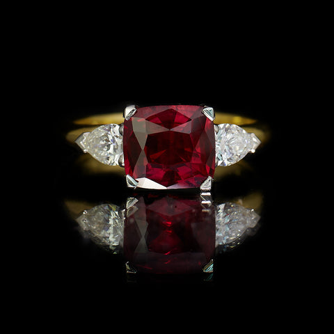 Birdcage Ruby And Diamond Engagement Ring