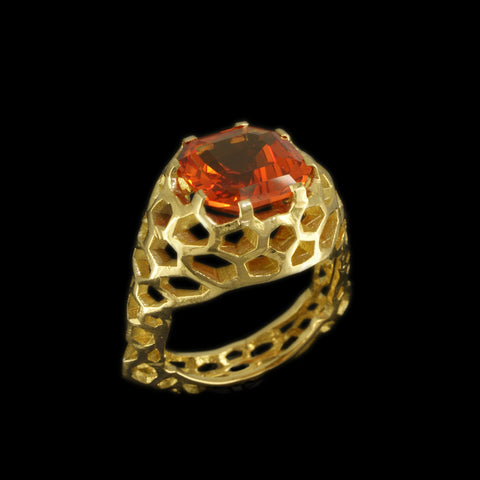 Cellular Mandarin Cocktail Ring
