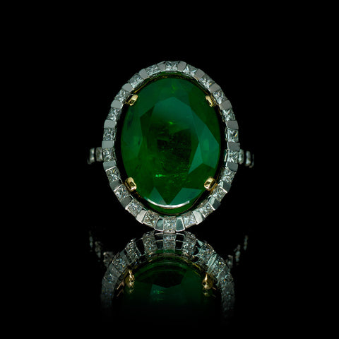 Deco Oval Emerald Cocktail Ring