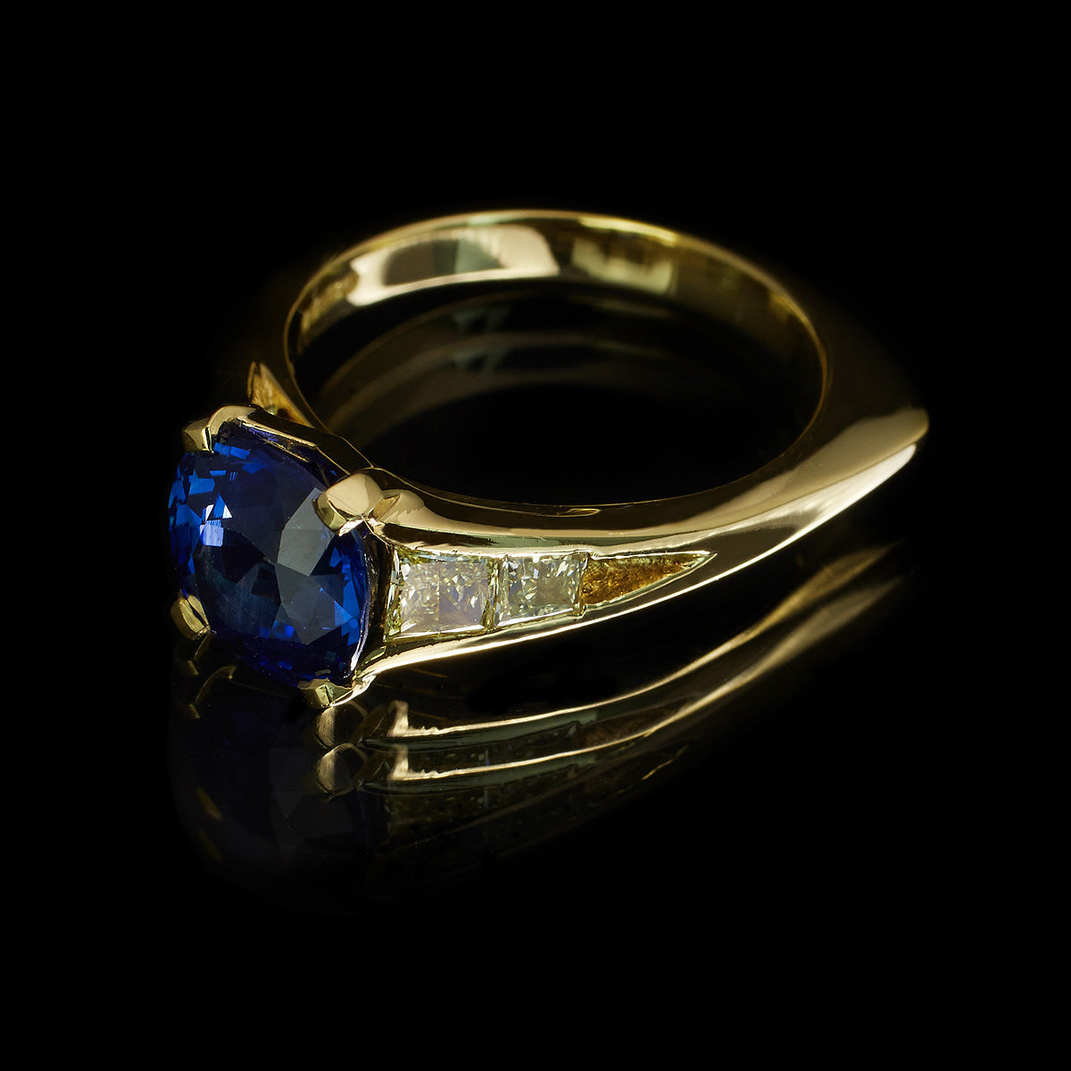 Deco Diamond and Sapphire Ring