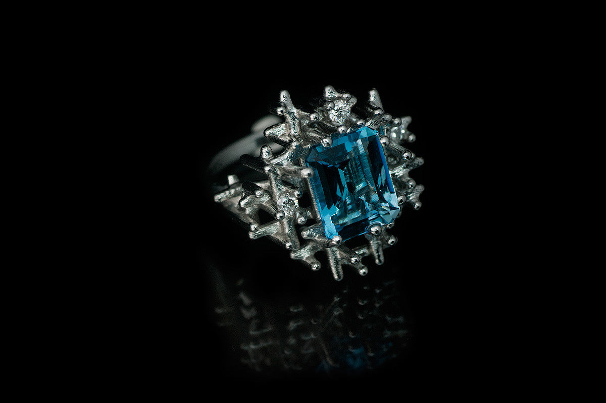 Algorithm Aquamarine Cocktail Ring