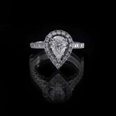 Picture of Platinum Pearshape Diamond Ring with Round Brilliant Cut Diamond Cluster and  Shoulders, front view
