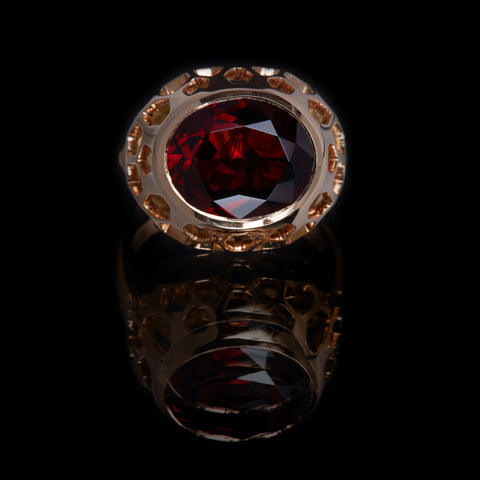 Guy and Max Oval Garnet Rose Gold Digital Nature, On Ice Cocktail Ring, front view