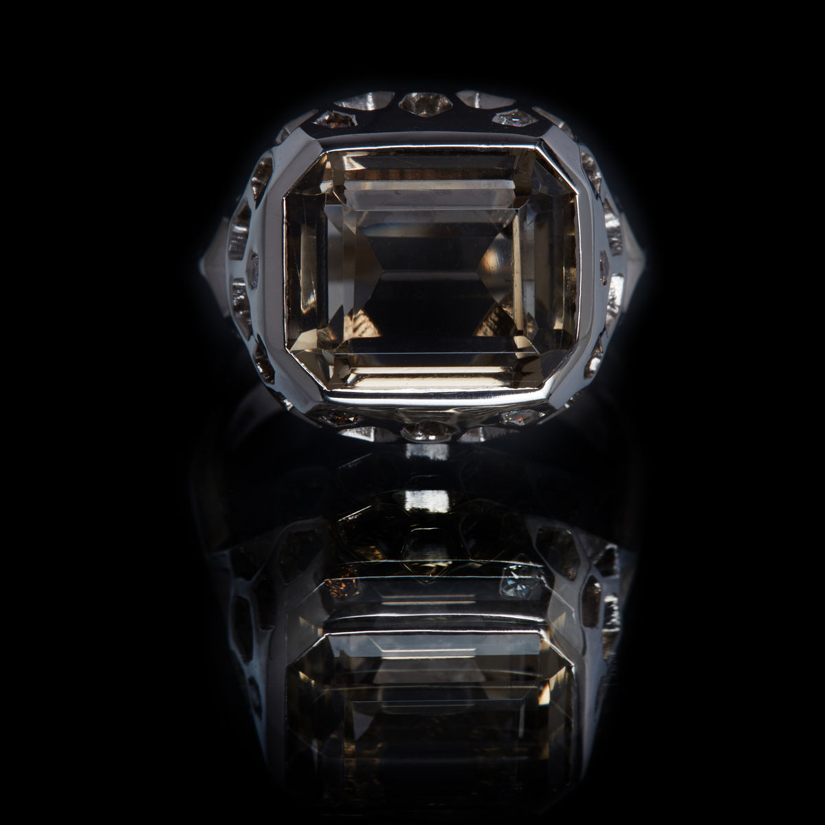 Guy and Max Emerald Cut Smoky Quartz and Round Brilliant Cut White and Cognac Diamond Natural White Gold Digital Nature Cocktail Ring, front view