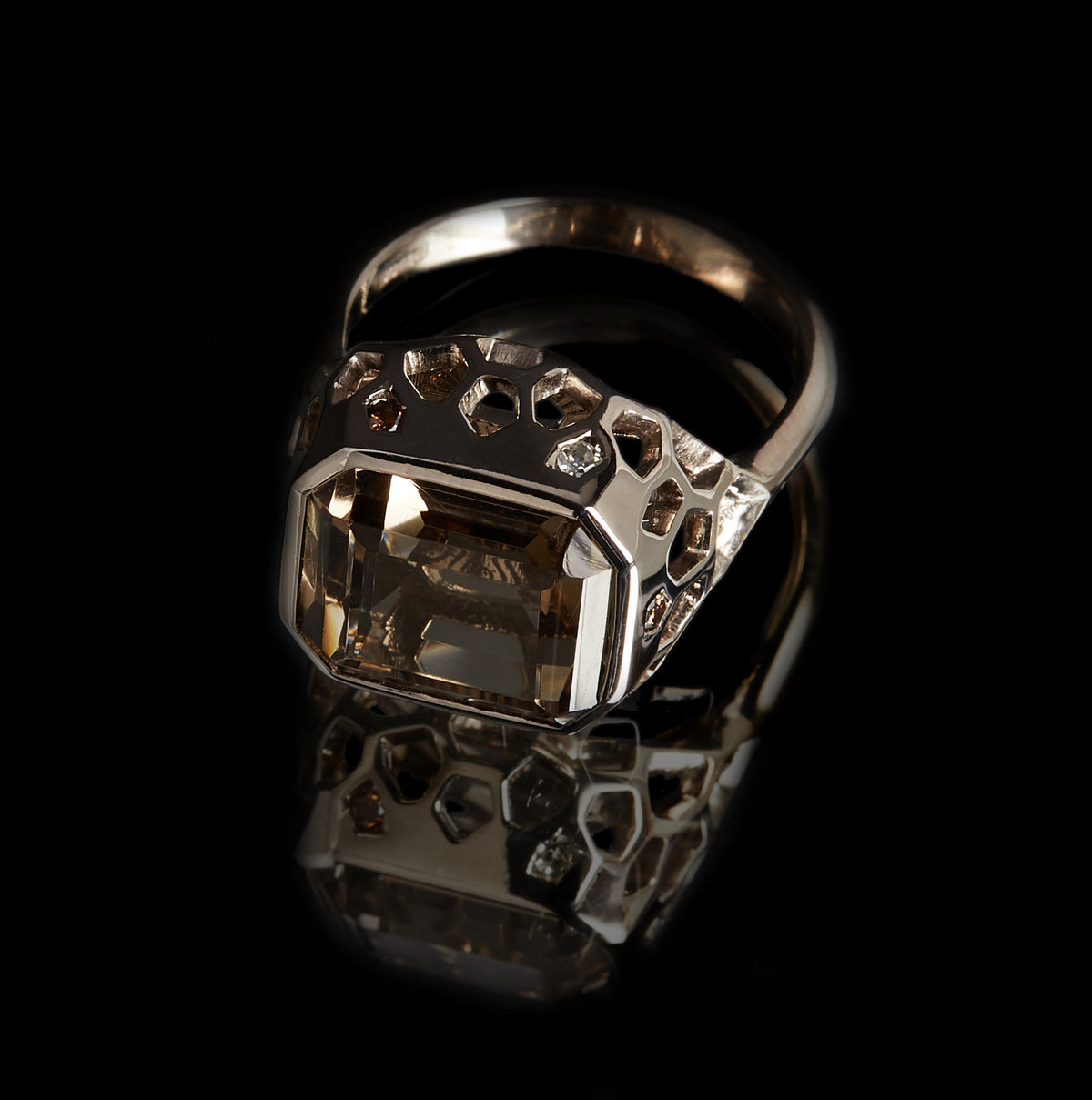 Guy and Max Emerald Cut Smoky Quartz and Round Brilliant Cut White and Cognac Diamond Natural White Gold Digital Nature Cocktail Ring, front view top