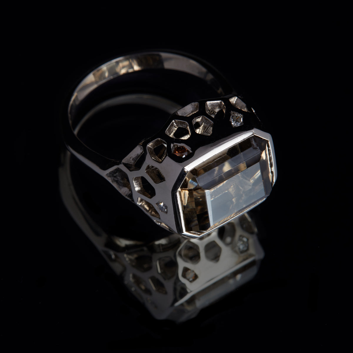 Guy and Max Emerald Cut Smoky Quartz and Round Brilliant Cut White and Cognac Diamond Natural White Gold Digital Nature Cocktail Ring, three quarter view top