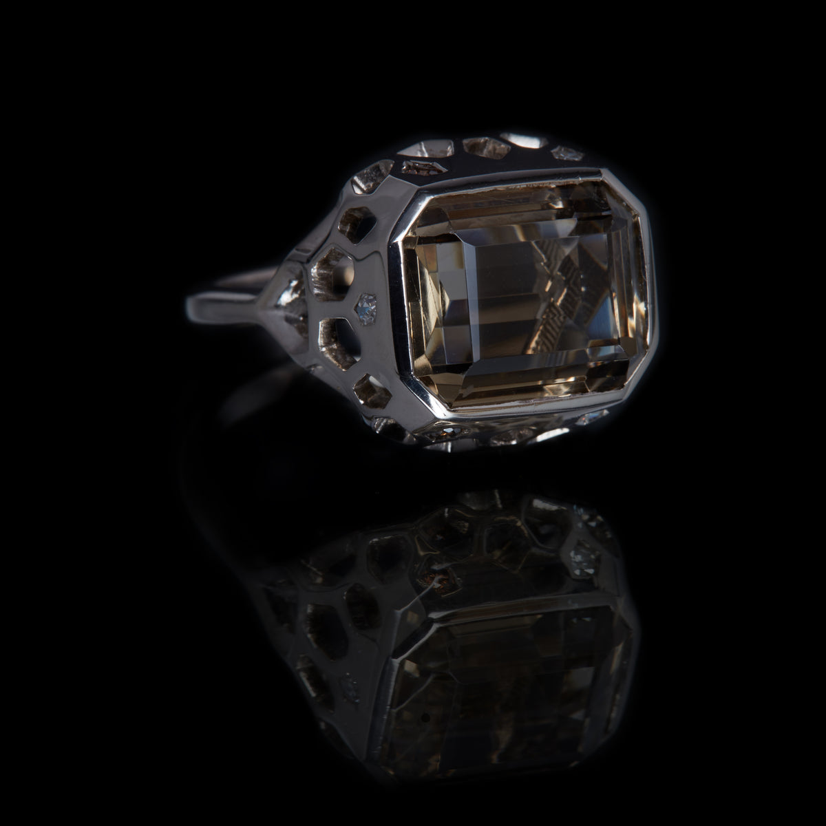 Guy and Max Emerald Cut Smoky Quartz and Round Brilliant Cut White and Cognac Diamond Natural White Gold Digital Nature Cocktail Ring, three quarter view