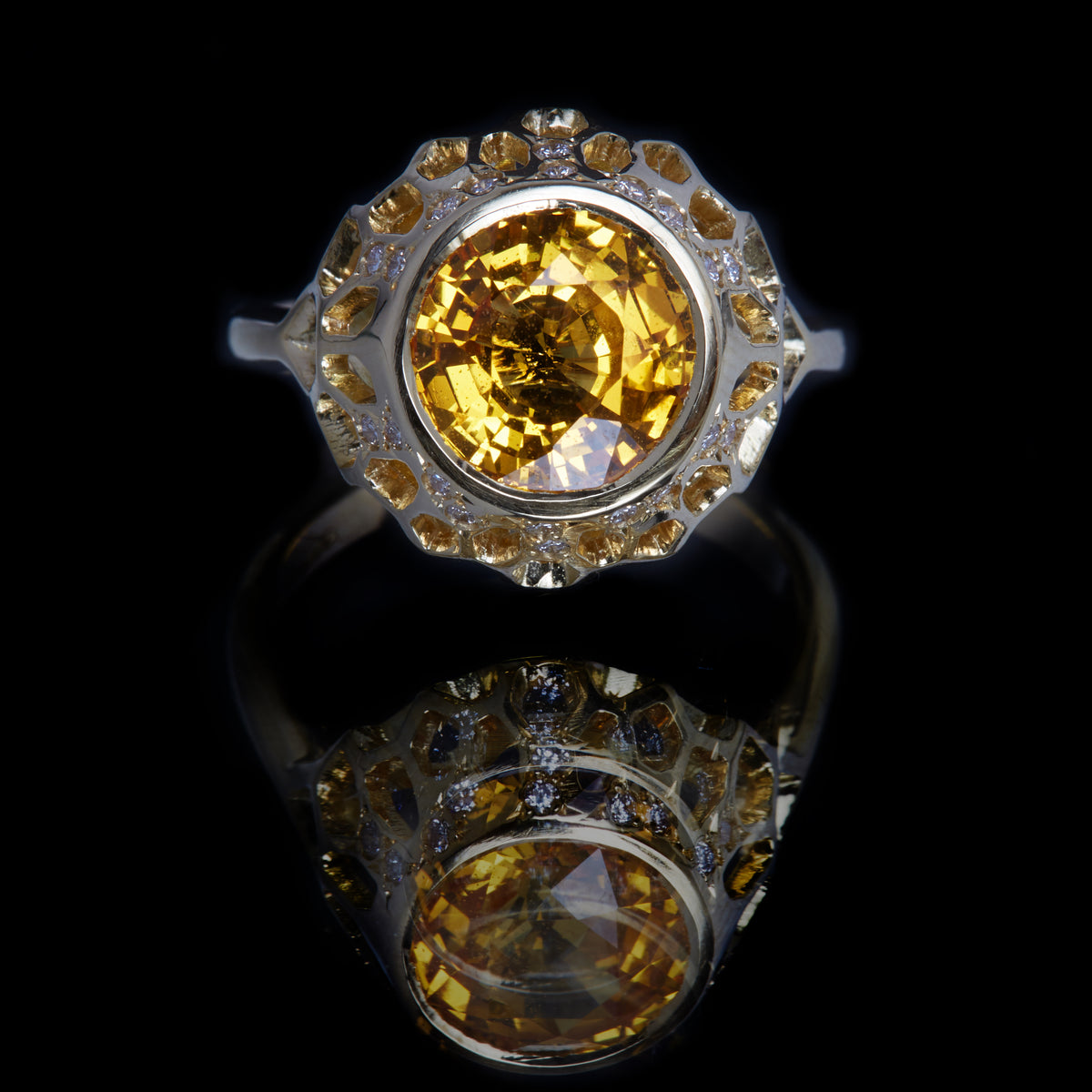 Guy and Max Round Yellow Sapphire and Gold Digital Nature Cocktail Ring, front view