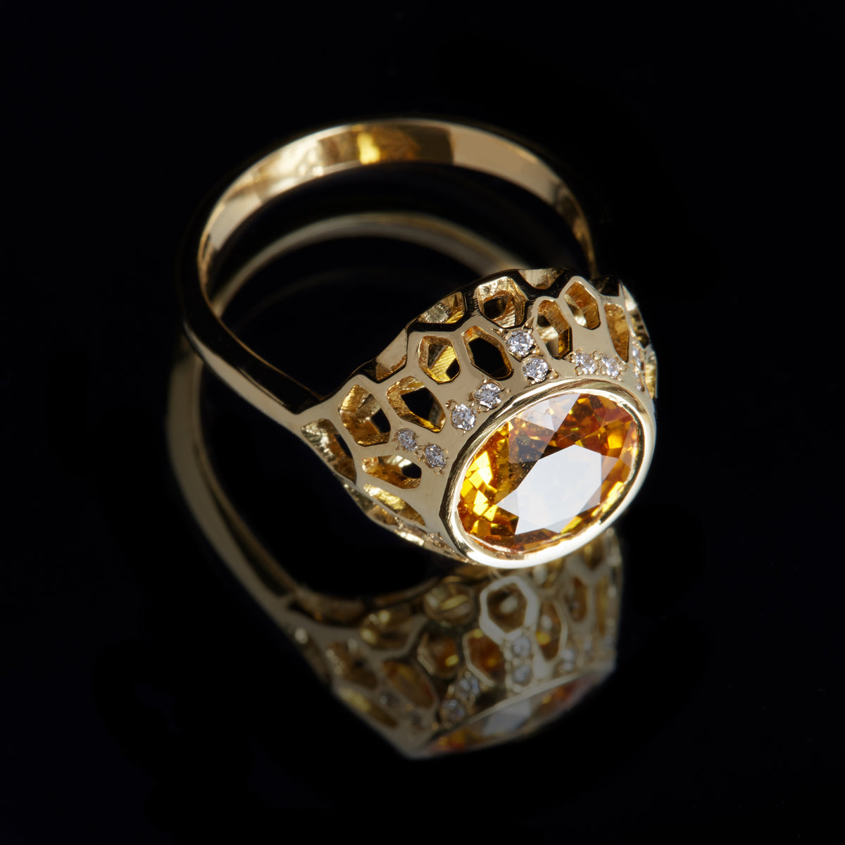 Guy and Max Round Yellow Sapphire and Gold Digital Nature Cocktail Ring, three quarter view