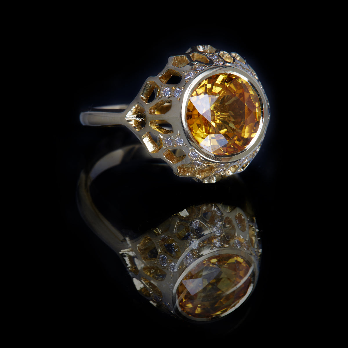 Guy and Max Round Yellow Sapphire and Gold Digital Nature Cocktail Ring, three quarter front view