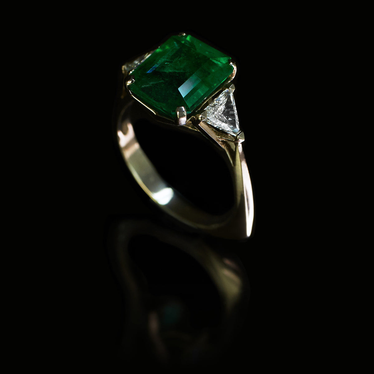 Emerald & Diamond Birdcage Three Stone