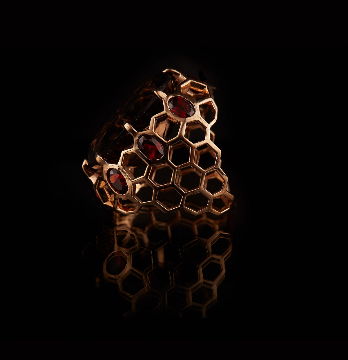 Honeycomb Smokey Quartz Cocktail Ring