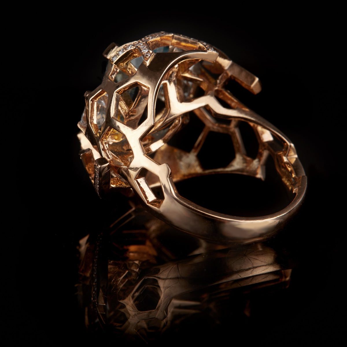 Guy and Max Aquamarine, Diamond and Rose Gold Digital Nature Cocktail Ring, three quarter back view showing structure