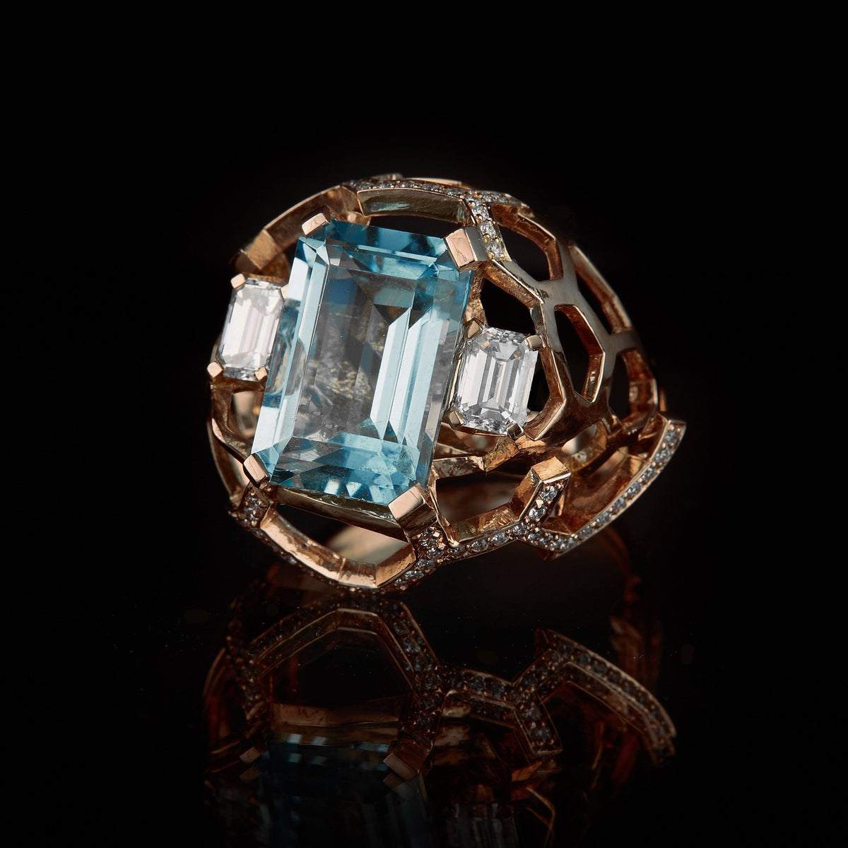 Guy and Max Aquamarine, Diamond and Rose Gold Digital Nature Cocktail Ring, three quarter front view