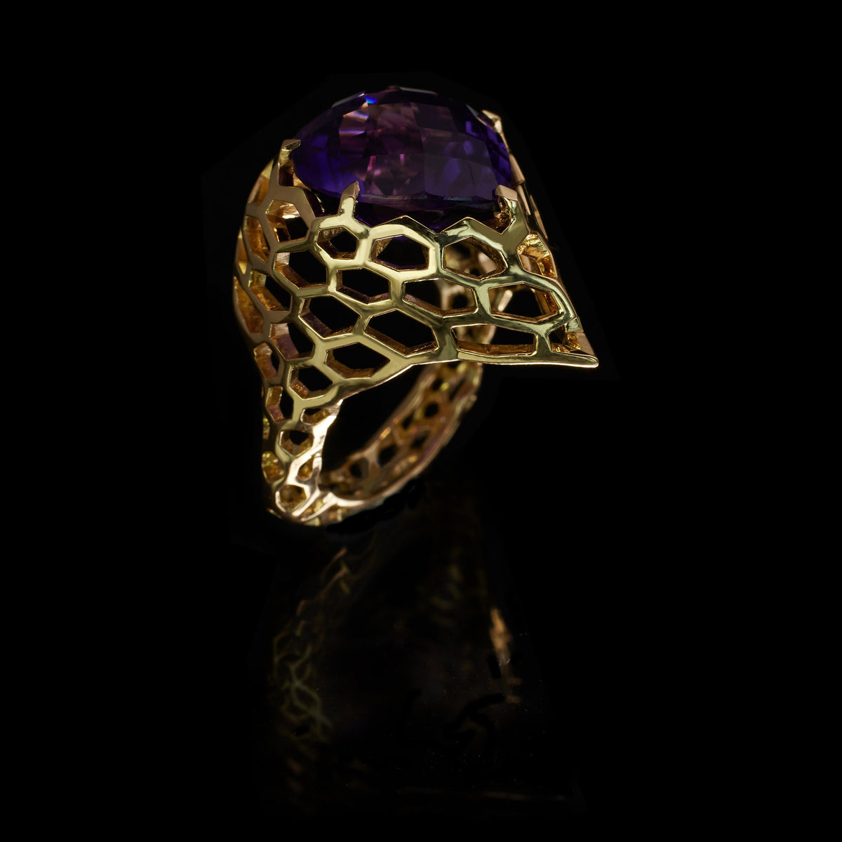 Cellular Crested Cocktail Ring