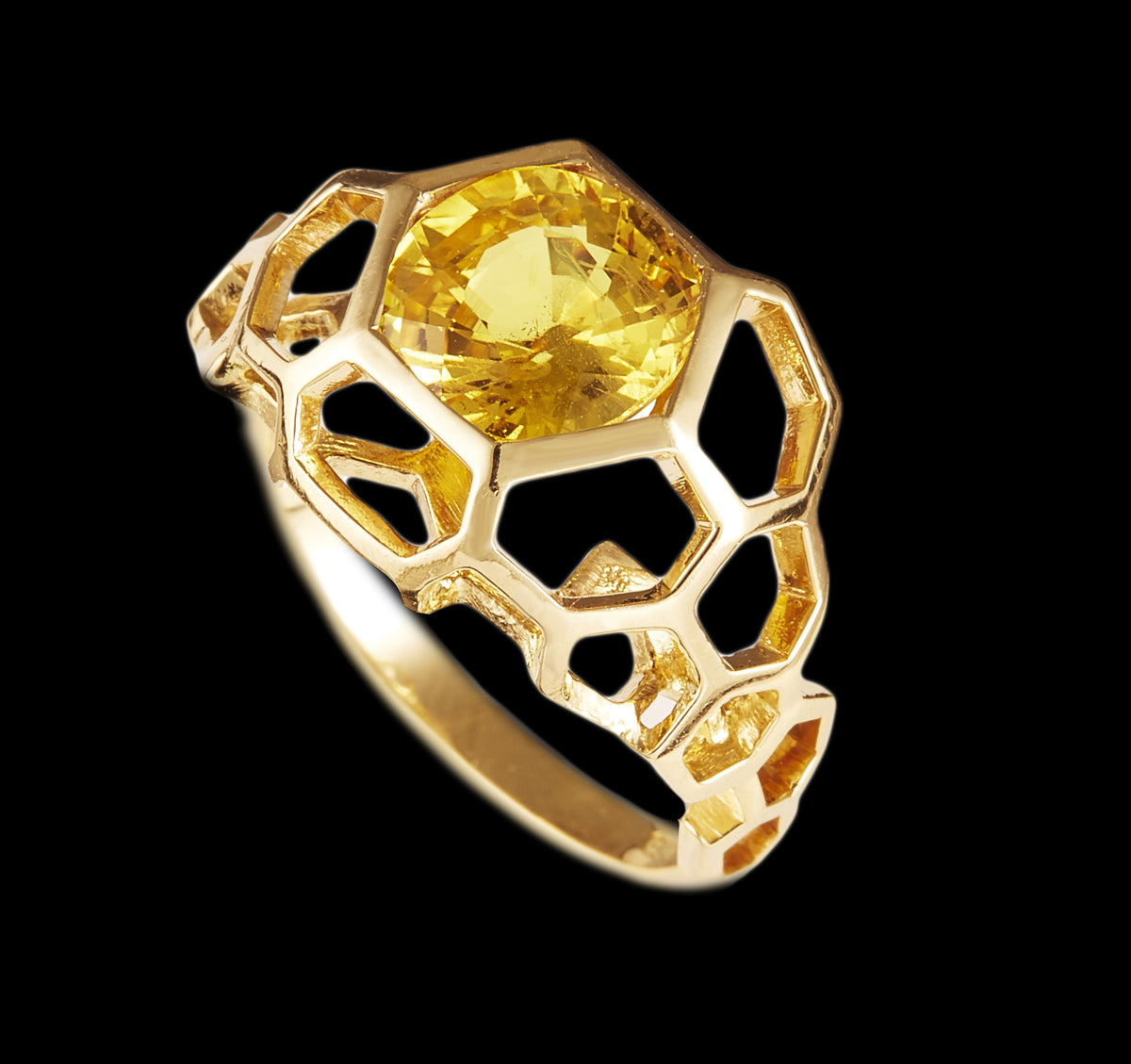 Yellow Sapphire Digital Nature Ring