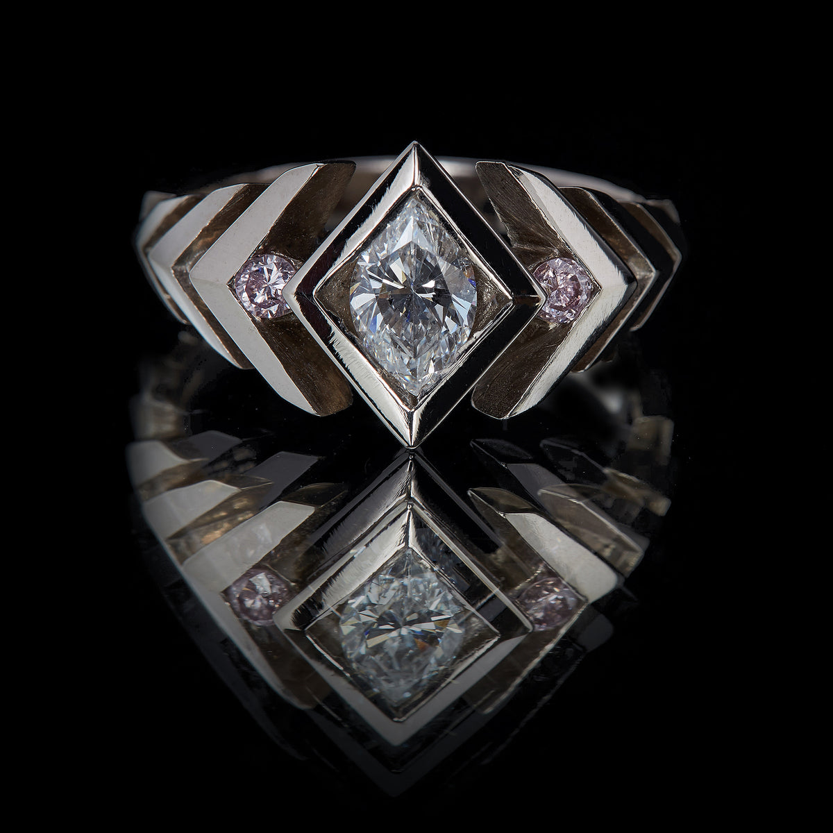 Digital Nature Herringbone Three Stone Ring