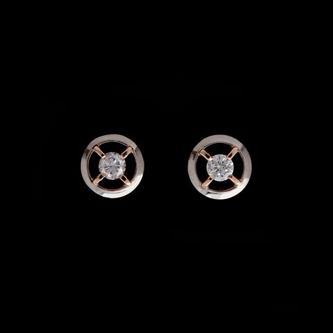 Guy and Max Round Brilliant Cut Diamond, White and Rose Gold Orbital Stud Earrings, picture 1 of 4