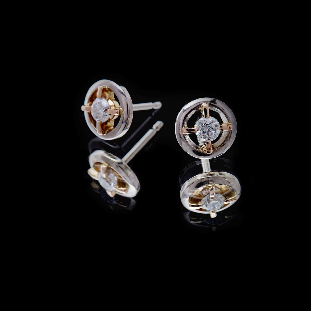 Guy and Max Round Brilliant Cut Diamond, White and Rose Gold Orbital Stud Earrings, picture 3 of 4