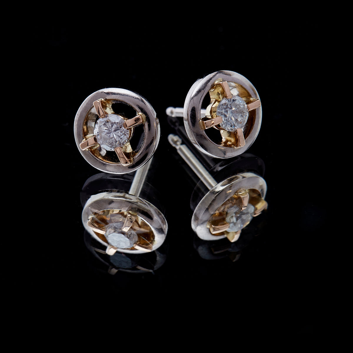 Guy and Max Round Brilliant Cut Diamond, White and Rose Gold Orbital Stud Earrings, picture 4 of 4