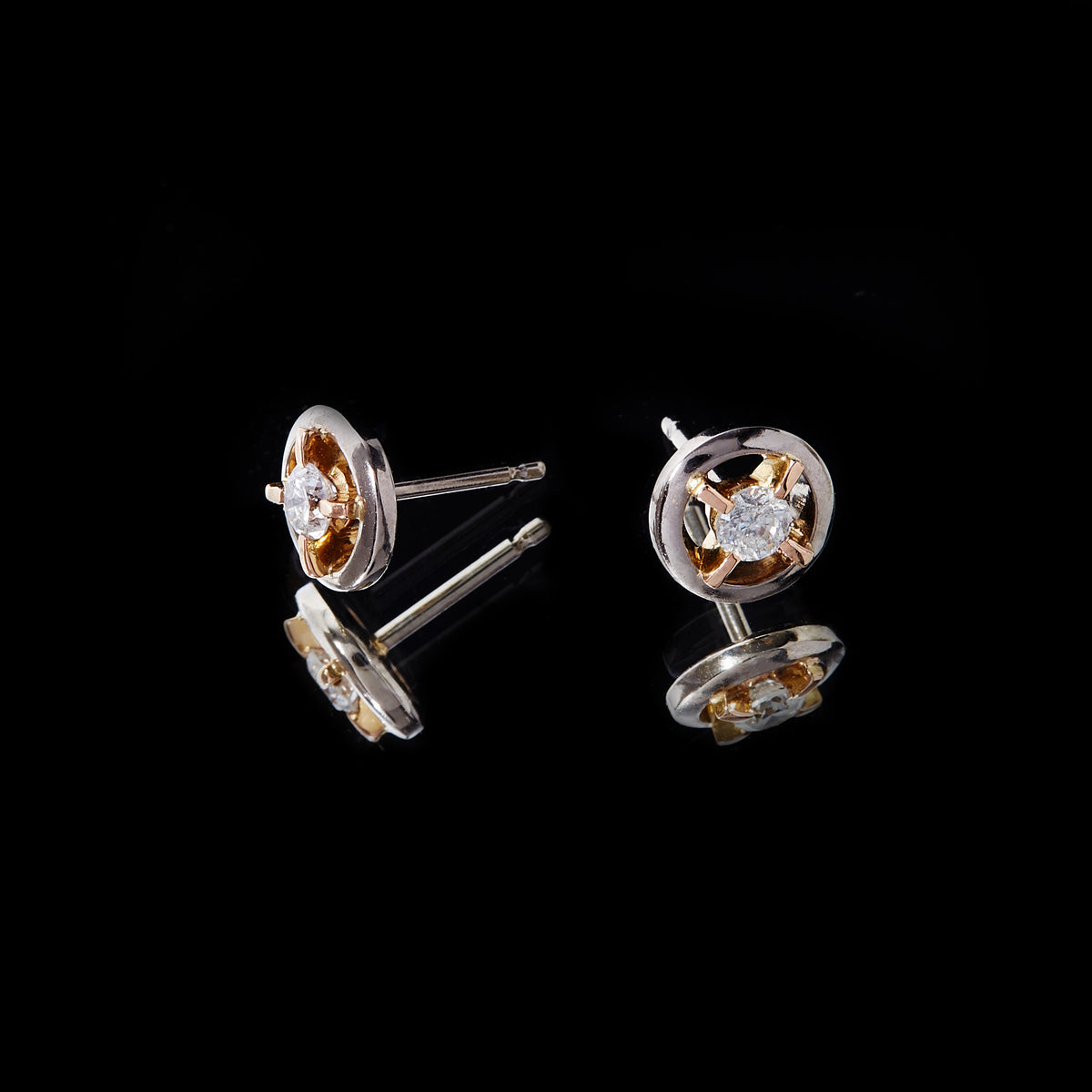 Guy and Max Round Brilliant Cut Diamond, White and Rose Gold Orbital Stud Earrings, picture 2 of 4