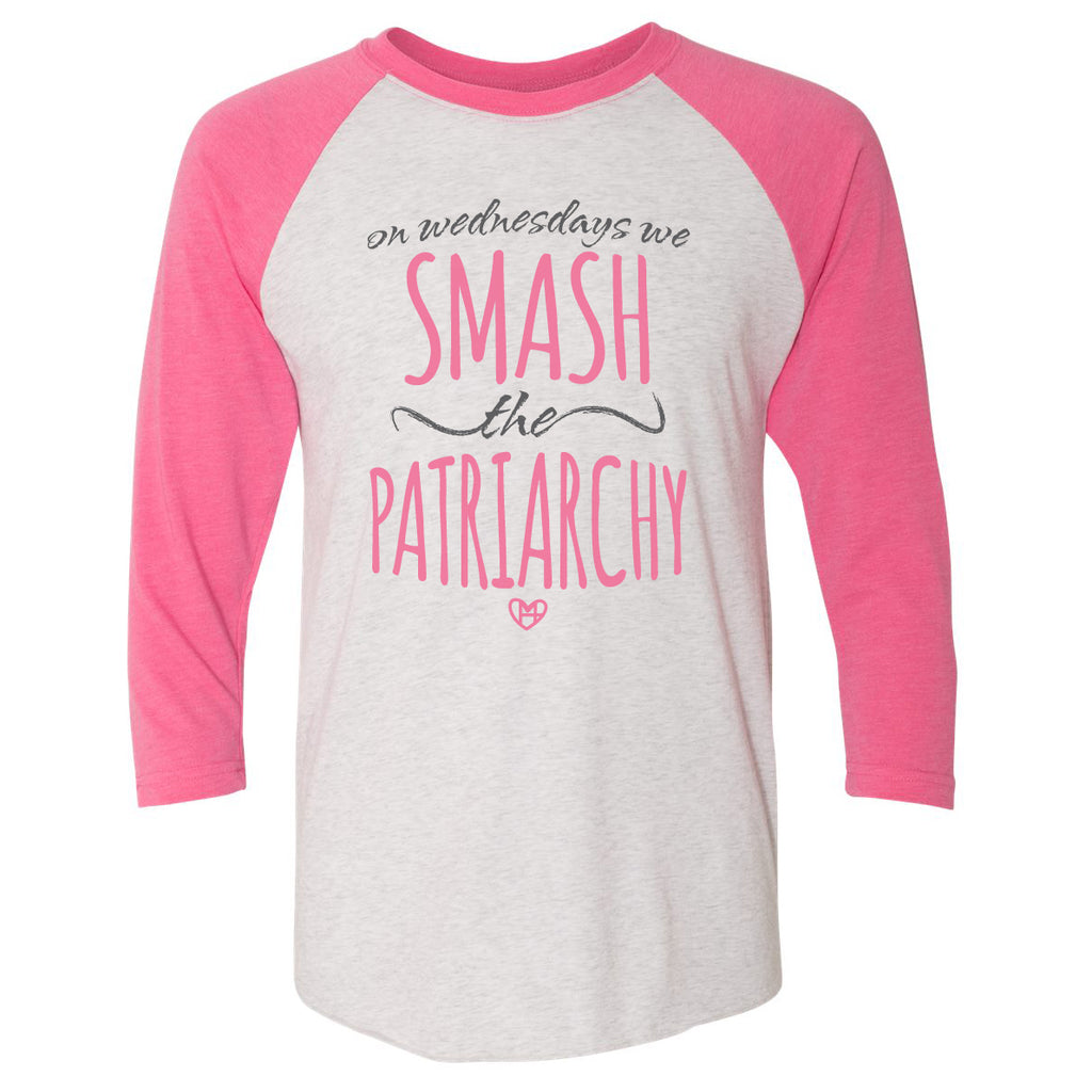 On Wednesdays We Smash the Patriarchy Pink Raglan Women's Shirt