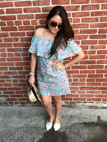 Chambray Off-the-Shoulder Printed Dress