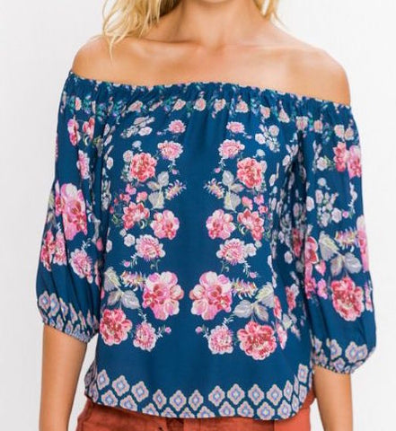 Blue & Blousy Off the Shoulder Top