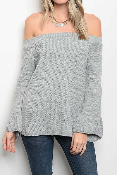 Off The Shoulder Slate Sweater