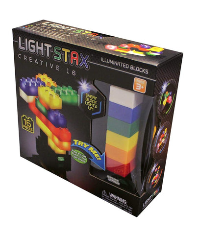 Light Stax Illuminated Building Blocks - Creative 16-Piece Set with More Sizes and Colors and Power Base