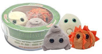 Giant Microbes Hay Fever (Grass Pollen) 3 Mini Plush Microbes in a Petri Dish