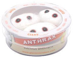 Giant Microbes Anthrax (Bacillus anthracis) 3 Mini Plush Microbes in a Petri Dish