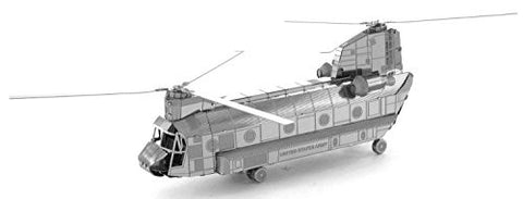 Fascinations Metal Earth 3D Laser Cut Model Silver Edition - CH-47 Chinook Helicopter (2 Sheets)