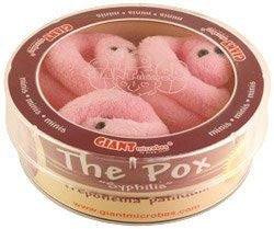 Giant Microbes The Pox - Syphilis (Treponema pallidum) 3 Mini Plush Microbes in a Petri Dish