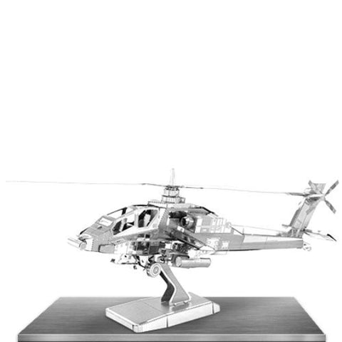 Metal Earth 3D Laser Cut Model Silver Edition - AH-64 Apache Helicopter (2 Sheets)