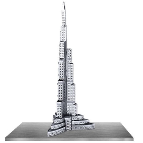Fascinations Metal Earth 3D Laser Cut Model Silver Edition - Burj Khalifa (2 Sheets)