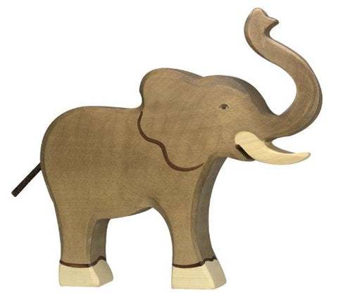 Holztiger Wooden Elephant With Raised Trunk